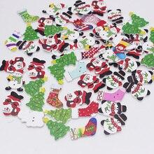 Рождество кнопки для скрапбукинга Вышивание пуговицы деревянный 2 держит ткань интимные аксессуары смешанные размеры 50 шт.
