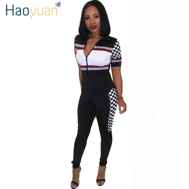 HAOYUAN Short Sleeve Sexy Jumpsuit Summer Checkerboard Print Body Full Length  Overalls Bodycon Elegant Rompers Womens 2cb2ce640a76
