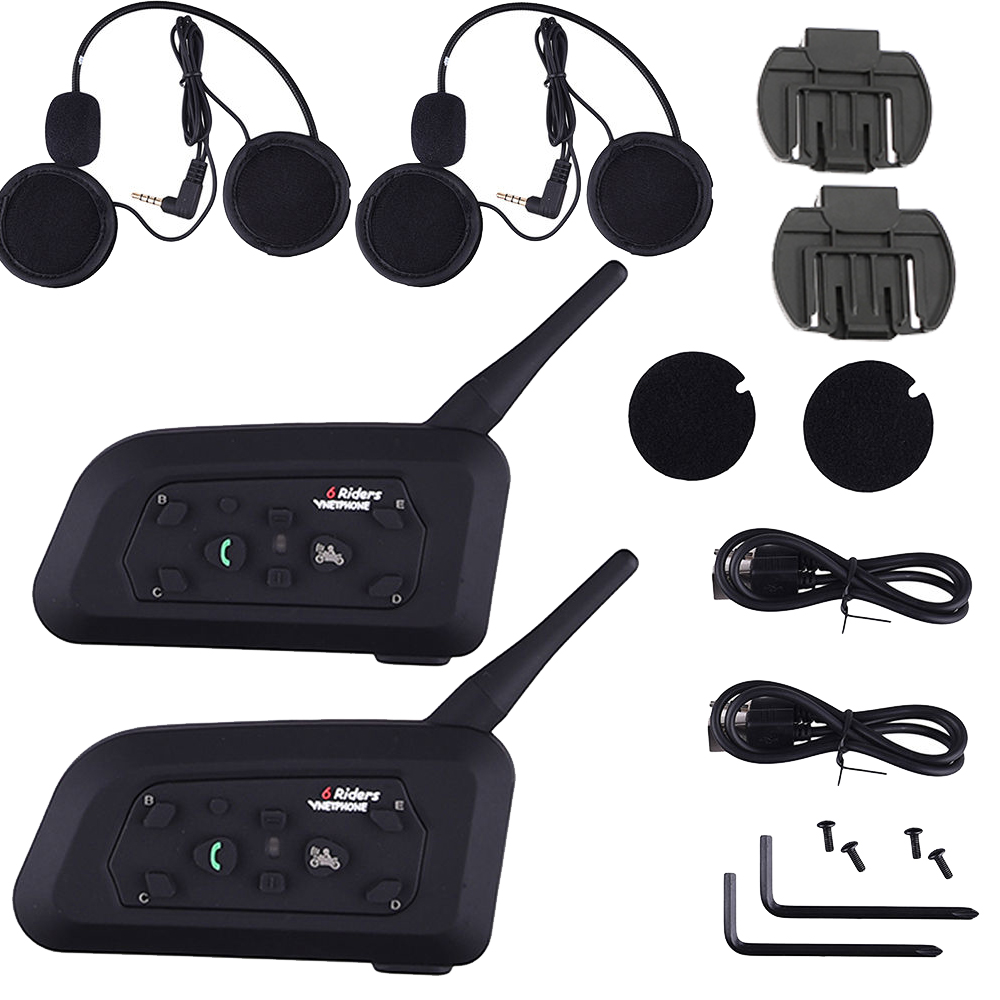 2 Sets Motorcycle Intercom Bluetooth Headset 1200M Range Hands free Interphone moto headset Black for 6