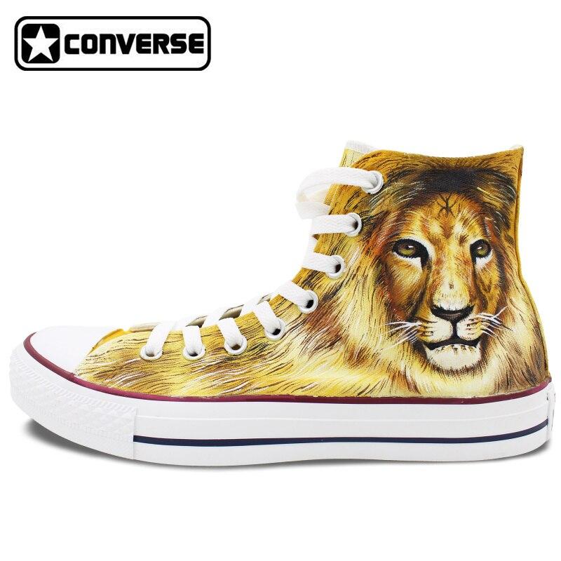 Prix pour Hommes Femmes Converse All Star Toile Chaussures Lion Roi de La Jungle Conception Originale Peint À La Main Chaussures Femme Homme High Top Sneakers