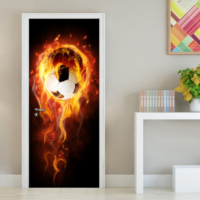 Modern 3D Art Effect Football Flame Mural Wall Papers Home Decor 3D Living Room Bedroom Door Sticker PVC Self-adhesive Mural