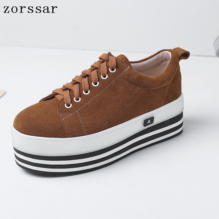 2019 Spring new women flats   Leather     suede   platform sneakers women shoes ladies casual lace up flats creepers moccasins