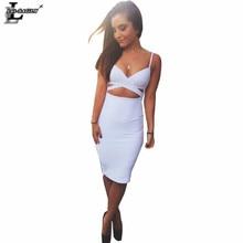 Lei SAGLY Fashion Women Bra Style Pencil Dress High Quality Nightclub Sexy Knee-length Slim Summer