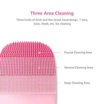 Inface Electric Sonic Facial Cleansing Brush Vibration Face Cleaner IPX7 Waterproof Rechargeable Massage Face Wash Brush