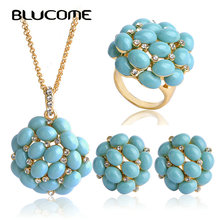 Blucome Luxurious Jewelry Sets Big Long Pendants Necklace Max Brincos Wedding Rings French Hooks Earrings Women Party Bijoux