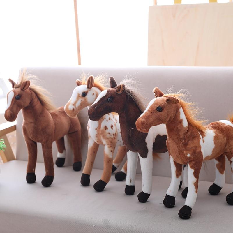 30-60cm Simulation Horse Plush Toys Cute Staffed Animal Zebra Doll Soft Realistic Horse Toy Kids Birthday Gift Home Decoration