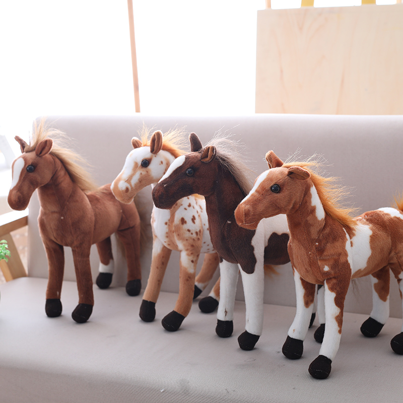 30-90cm Simulation Horse Plush Toys Cute Staffed Animal Zebra Doll Soft Realistic Horse Toy Kids Birthday Gift Home Decoration