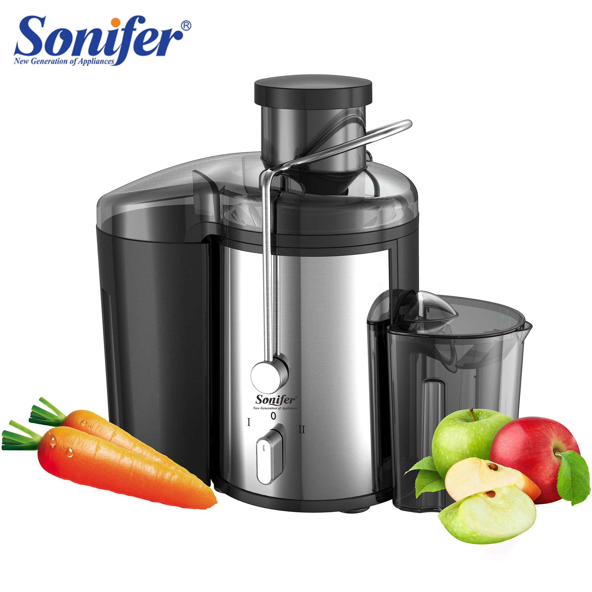 220V Stainless Steel Juicers 2 Speed Electric Juice Extractor Fruit Drinking Machine For Home Sonifer(China)
