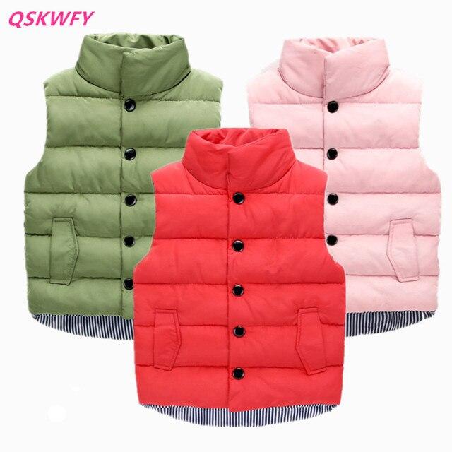 a79fdf01277f 2018 Boys Winter Down Vest   Waistcoats Girls Hooded Warm Candy ...