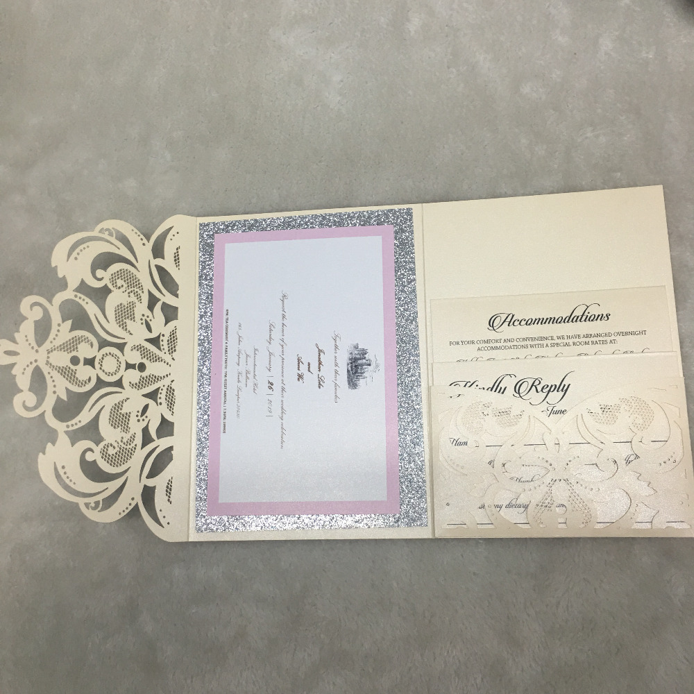 Us 64 0 Elegant Pocket Laser Cut Lace Wedding Invitation Card Design Printing Service Glitter Paper Background With Hot Stamping Names In Cards