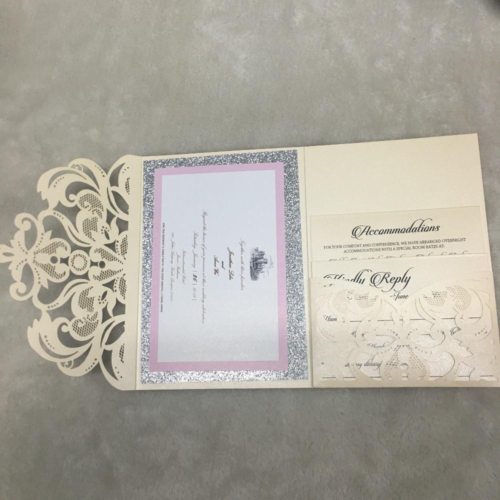 Elegant Wedding Invitation Cards Design: Elegant Pocket Laser Cut Lace Wedding Invitation Card