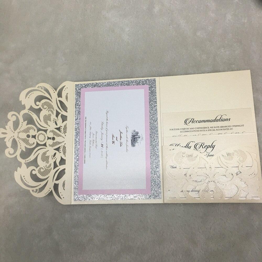 Elegant Pocket Laser Cut Lace Wedding Invitation Card