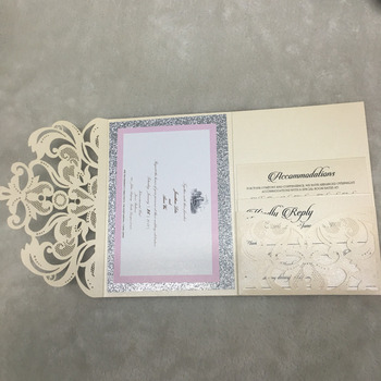 Elegant pocket laser cut lace wedding invitation card design printing service glitter paper background with hot stamping names