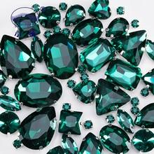 Emerald Green Glass Rhinestones For Clothing Loose Flatback Dress Stones Decorative Crystal Sew On 50PCS/PACK S045