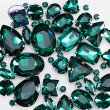 Emerald Green Glass Rhinestones For Clothing Loose Flatback Dress Stones Decorative Crystal Sew On Rhinestones 50PCS/PACK S045