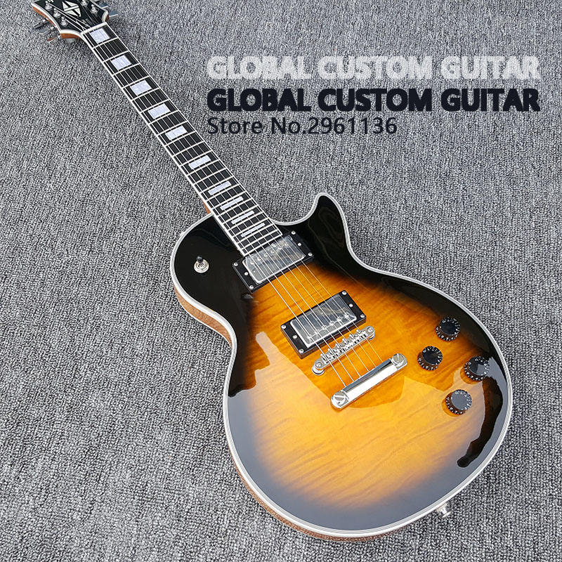 High quality LP Custom Electric Guitar,tiger stripes maple Dorsal transparent log color,Real photos,free shipping human free shipping hot guitar electric guitar good quality beautiful olp transparent black color guitar