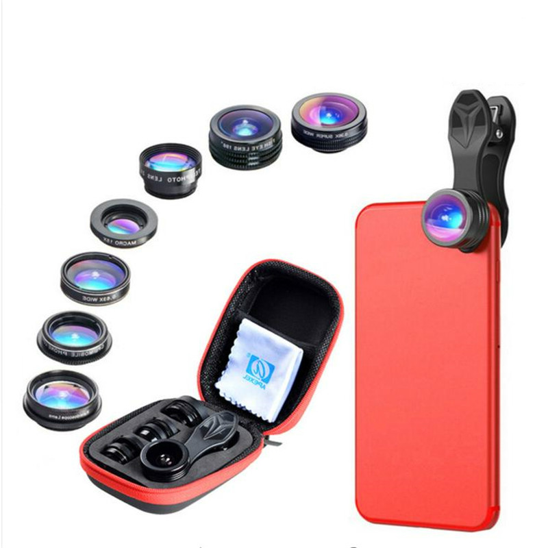 APEXEL 7 in 1 Phone Lens Kit Fisheye fish eye super Wide Angle macro Lens CPL Filter Kaleidoscope and 2X zoom Lens for iphone LG