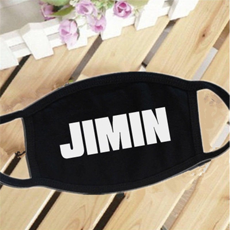 Black White Cotton Dustproof Mouth Face Mask Kpop Name Bangtan Boys Letters
