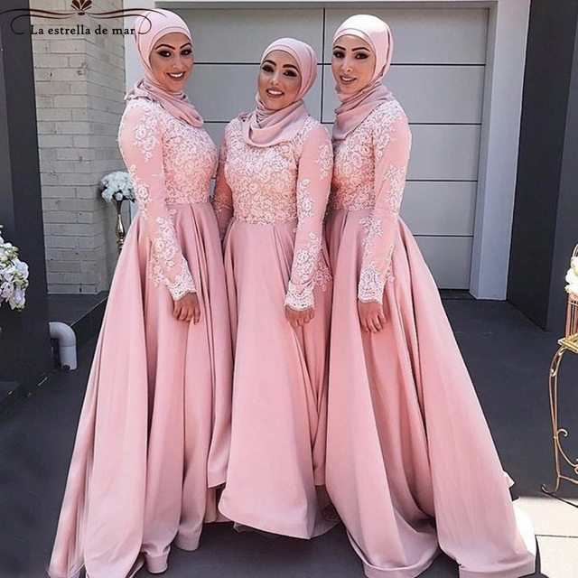 robe madrinha longo nouvelle dentelle et satin manches longues moelleux hijab musulman rose. Black Bedroom Furniture Sets. Home Design Ideas