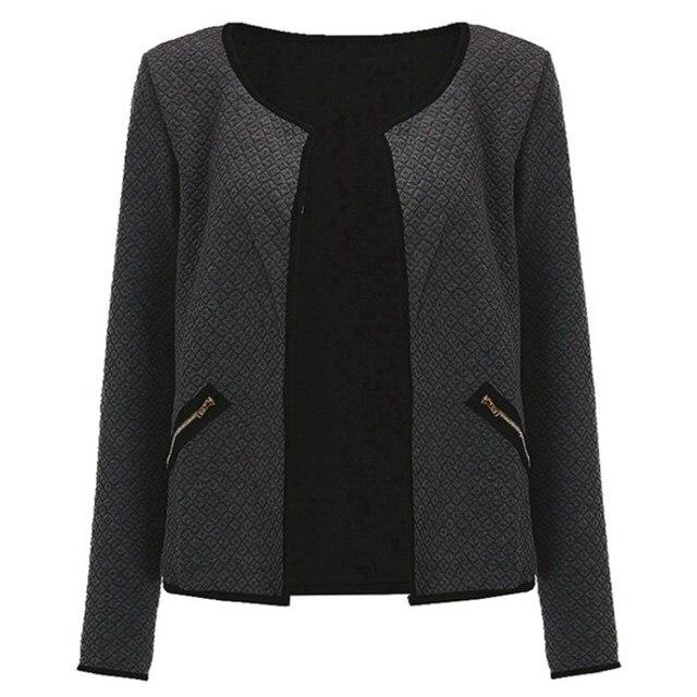 plus size s-4xml Women Jacket 2017 Spring Autumn Women Basic Jacket Long Sleeve Pockets Slim Short Cardigan Coat Casual Outwear 5