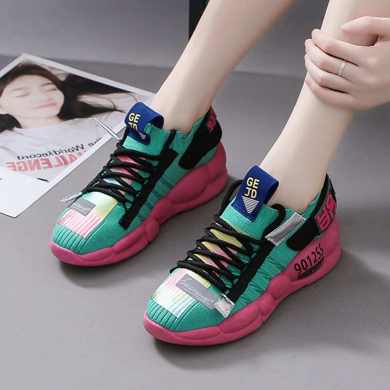 Women Chunky Sneakers Platform 3cm Thick Sole Ladies Casual Vulcanize Shoes Web Celebrity Dad Female Fashion Sneakers Designer