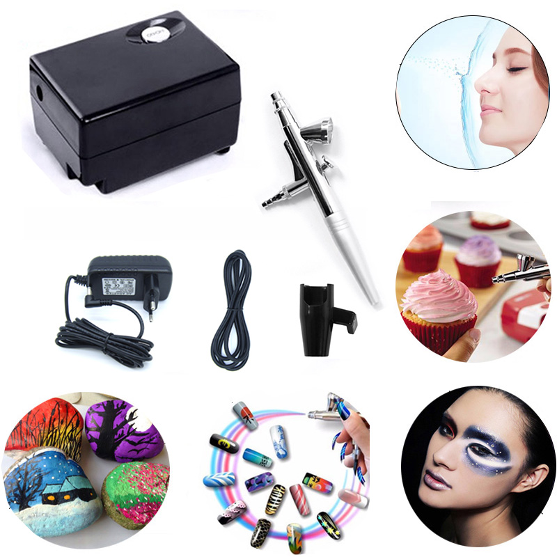 AirBrush Compressor 12v Air brush Gun 0.4mm Needle Tattoo Art, Mini Single Action Airbrush kit With Compressor US/Euro Plug