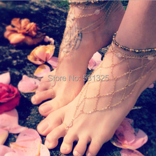 Barefoot Sandals Slave Gold Mesh Net Anklet Multi-layer Chain Toe Foot Jewelry Bracelet