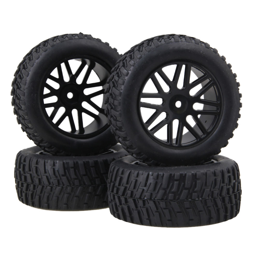 Mxfans 4PCS RC1:10 off-road short truck tires Rally tires and black 16-spoke <font><b>wheels</b></font> image