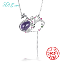 l&zuan Brand trendy Natural 11.53ct Amethyst Pendant 925 silver necklace fine Jewelry sterling silver jewelry necklace for women
