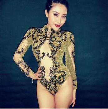Fashion Shining Sexy Gold Rhinestones Bodysuit Fashion Women Shining Dance Wear Costumes Stage Clothing