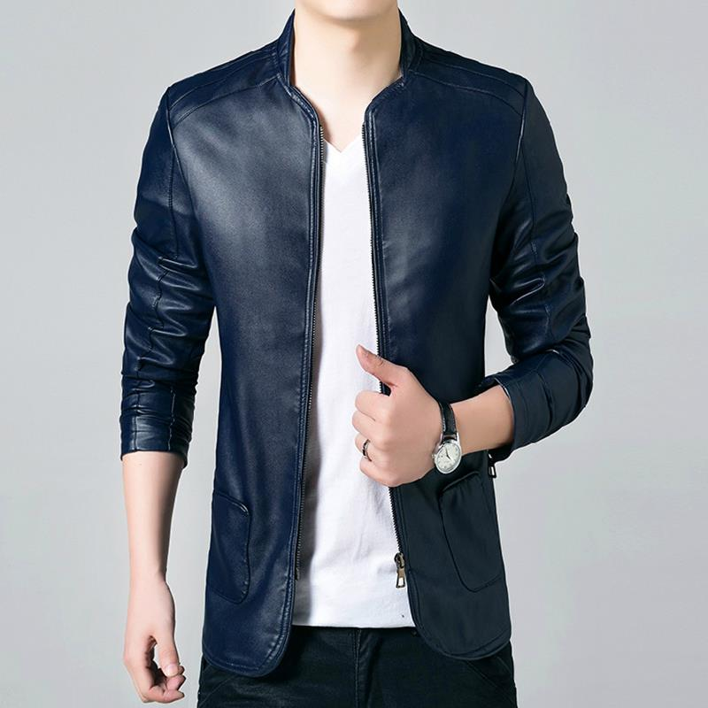 British Style Solid PU Leather Jacket Men 2017 Brand Clothing Man ...