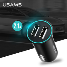 USAMS Car-Charger Max 2.1A Dual USB for Mobile Phone Adapter Car USB Phone Charger for iPhone Samsung xiaomi With Charger Cable