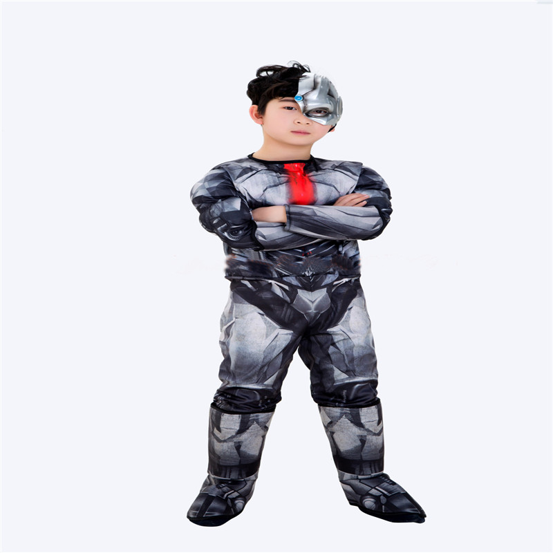 Deluxe Dawn of Justice Child Movie Cyborg Victor Stone Halloween Cosplay Costumes