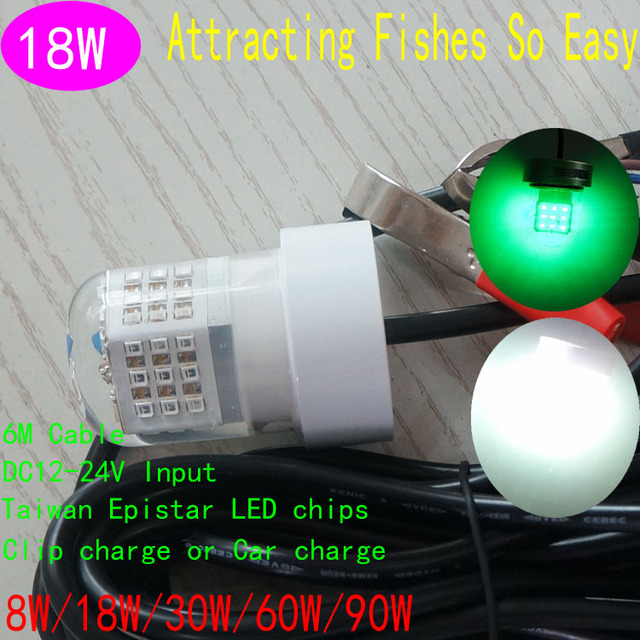 12V Deep Drop Underwater Fish Attracting Lure LED Fishing Light Bait 18W Night Fishing Squid Jigs Lures Bass Bait Green