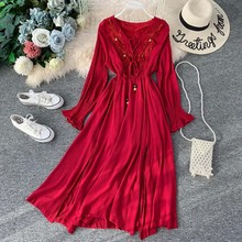 NiceMix Women Holiday Boho Dress 2019 Summer Wine Red Embroidery Floral Cotton Sexy V Neck Long Sleeve Split Maxi Beach