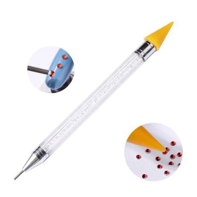 Dupla cabeça do prego caneta cristal lidar com contas de strass brincos escolha crayon unha ferramenta manicure ferramentas de pintura diamante