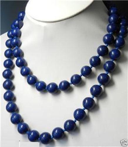 "Hot sale new Style >>>>>Long Natural 10mm blue Lapis Lazuli Round Beads Necklace 32"" AAA"