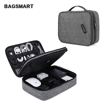 BAGSMART Travel Electronics Accessories Bag Double Layer Organizer Storage Bag for iPad Charger Kindle Data Cable USB Earphone