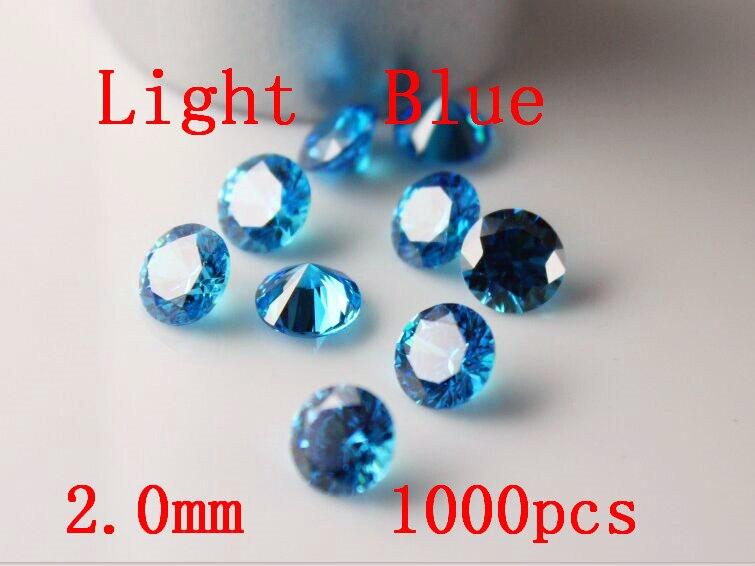 MRHUANG bijoux fournitures zircon cubique AAA bleu clair 2.0/2.5/3.0mm rond zircone bijoux à bricoler soi-même fournitures
