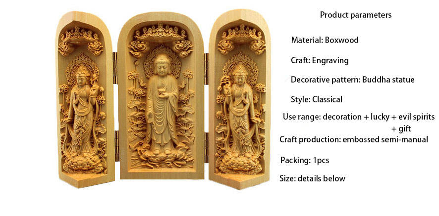 Dropship Chinese Handmade Carving Exquisite Avalokitesvara Boxwood Handle Car Decoration Home Furnishing Buddha Wooden Crafts Reasonable Price Statues & Sculptures Home Decor