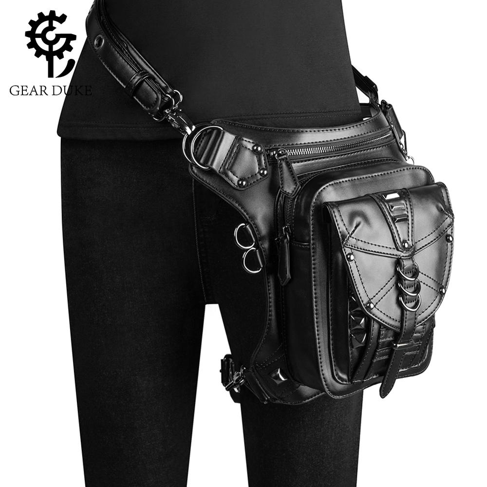 GearDuke Women Waist Bag Gothic Fanny Packs Motorcycle Hip Leg Bag Steampunk Holster Shoulder Bag Men PU Leather Crossbody Bags
