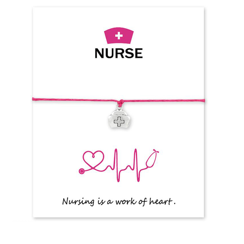Drop shipping Nurse series Charms Bracelets Adjustable Wish Card Bracelets Fashion Doctor And Nurse Jewelry in Chain Link Bracelets from Jewelry Accessories