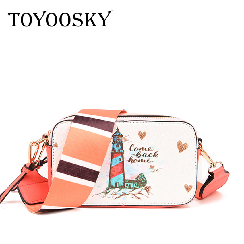 TOYOOSKY Famous Brand Women bag vintage Cartoon Printing Crossbody bags For Women Clutches Width straps Lady Shoulder bag