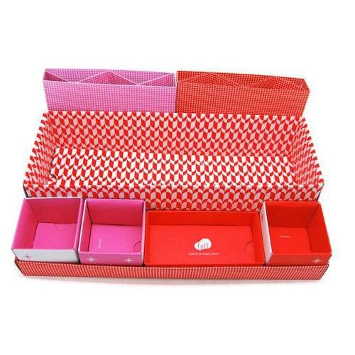 TFBC Red DIY Cute Desktop Desk Table Organiser Storage Stationery Makeup Box In Box