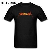 Tee Shirts Men S Fire Metallica Hard Metal Rock Band Logo Youth Round Collar Short Sleeved