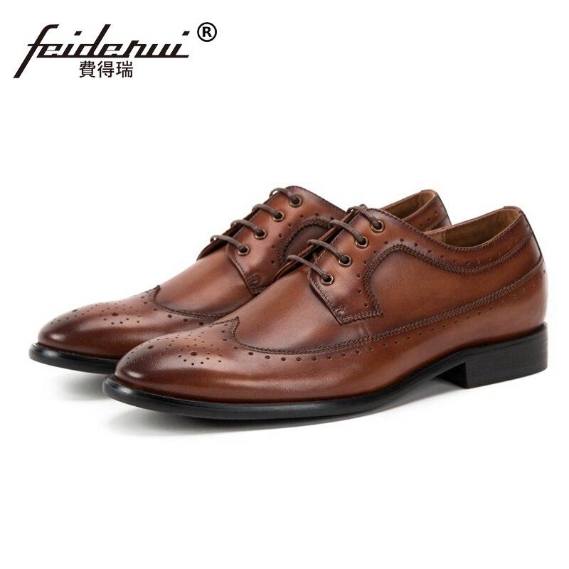 Luxury Round Toe Derby Man Genuine Leather Wingtip Brogue Footwear Formal Dress Men's Handmade Bridal Wedding Prom Shoes SS236 цена