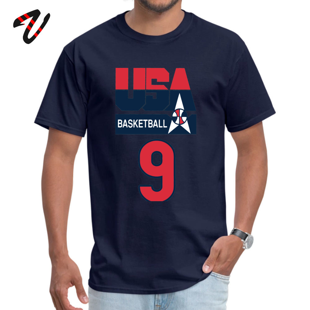 DREAM TEAM JORDAN Custom T Shirt Short Sleeve for Men All Cotton Summer/Fall O-Neck T Shirt Customized T Shirt Family DREAM TEAM JORDAN -4466 navy