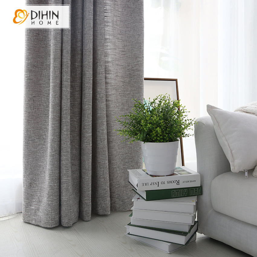 Compre dihin cor cinza pano de linho for Cortinas para salon gris