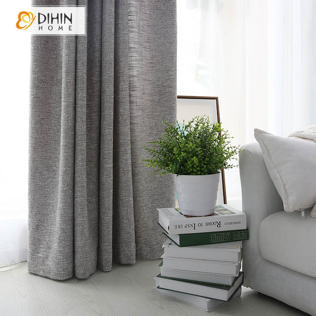 US $21.42 10% OFF|DIHIN HAUSE Moderne Graue Farbe Leinen Tuch Vorhänge Für  Wohnzimmer Halb Blackout Vorhang Fenster Schattierung Vorhänge 1 P in DIHIN  ...