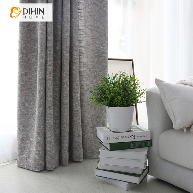 dihin home modern grey color linen cloth curtains for living room